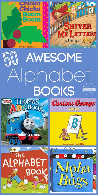 50 Awesome Alphabet Books to read with your toddler, preschool, kindergarten, and first grade child. Perfect for summer reading, back to school, homeschool, reading readiness, and just plain FUN!