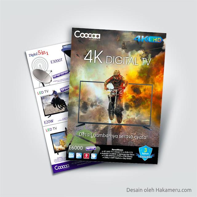 Desain flyer brosur A5 TV LED Coocaa - Jasa desain grafis profesional HAKAMERU