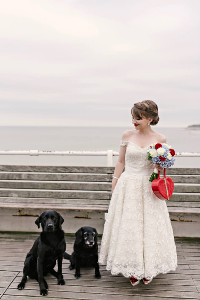 Bride with dogs at vintage 50s style wedding