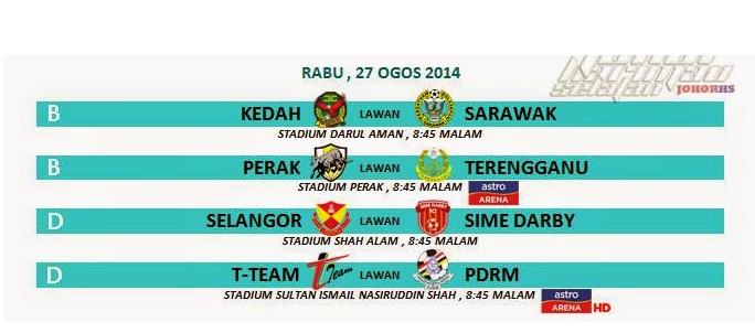 Jadual Siaran Langsung Piala Malaysia 27 Ogos 2014 Rabu