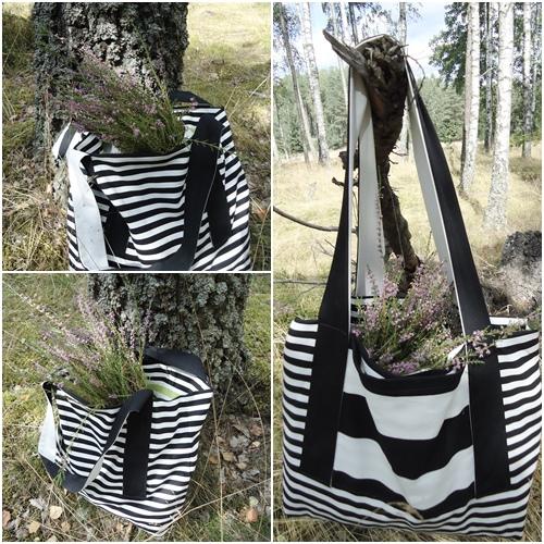czarno-biała torba plażowa