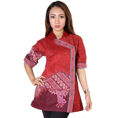 polos terbaru model baju batik atasan kombinasi kain polos terbaru