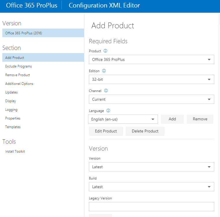 office 2016 proplus deployment tool