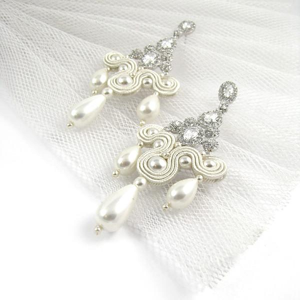 Sutasz ślubny kolczyki z perłami i cyrkoniami