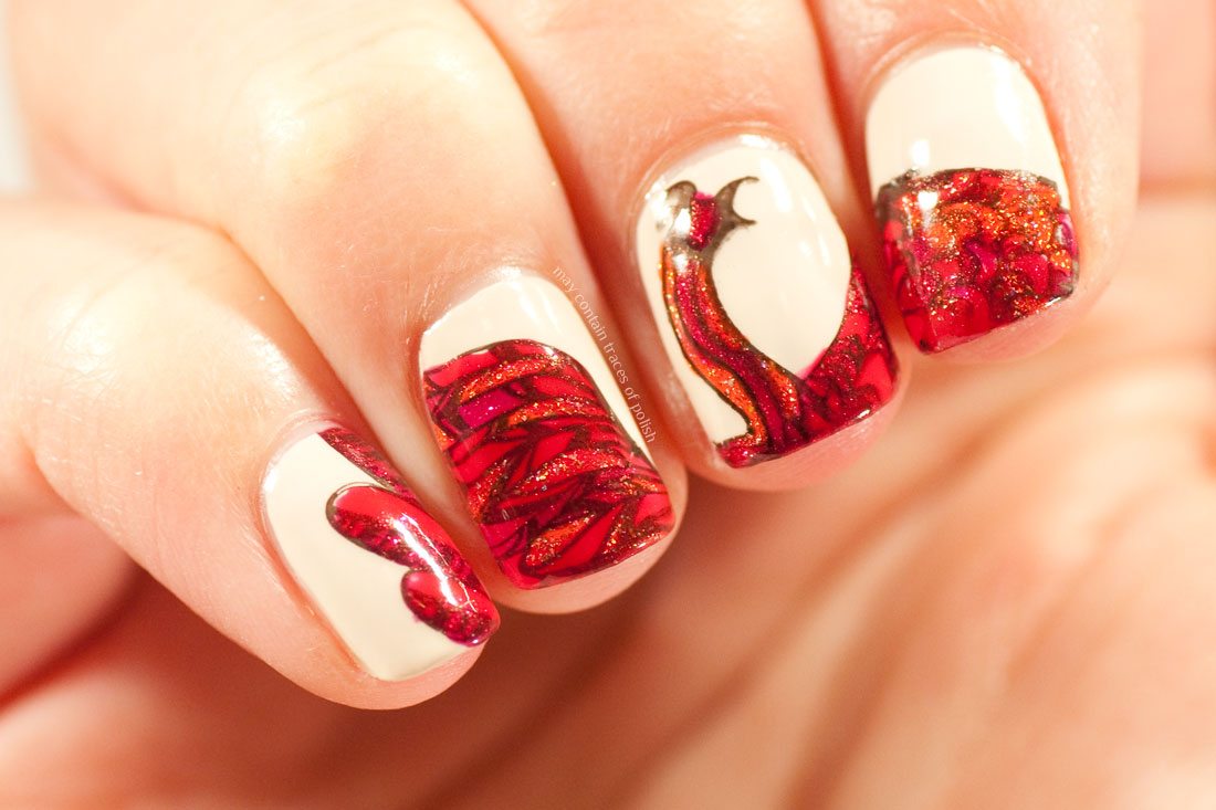 31 Day Challenge : Day 24, Inspired by a Book - Harry Potter Hawkes Phoenix nails
