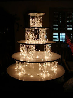 Multilayer Lighted Wedding Cake Stands