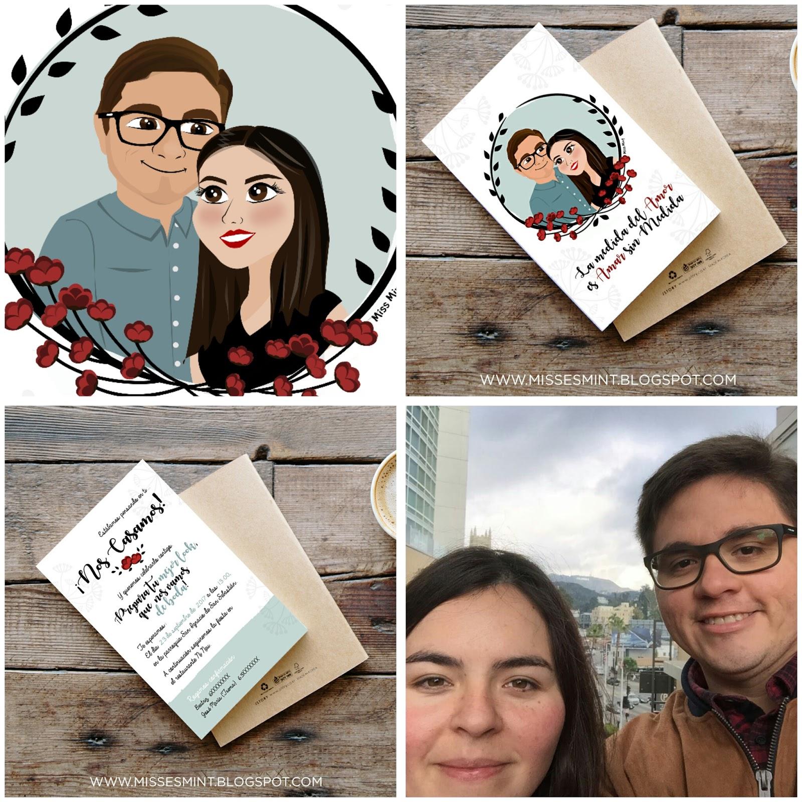 invitaciones de boda personalizadas ilustraciones miss mint