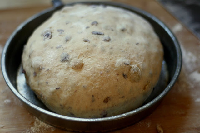 Irish Barmbrack dough ball before second rise
