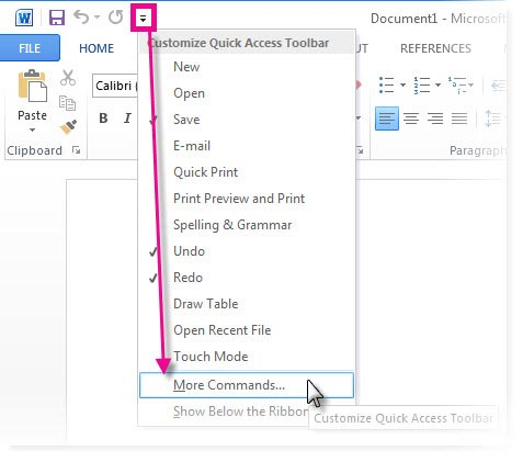 How to Add Commands in Microsoft office Quick Access Toolbar