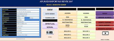 Aplikasi Raport K-13 Kelas 1 Semester 2 SD Revisi 2017