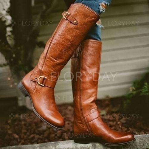 Buckle Mid-Calf Boots Flat Heel Shoes