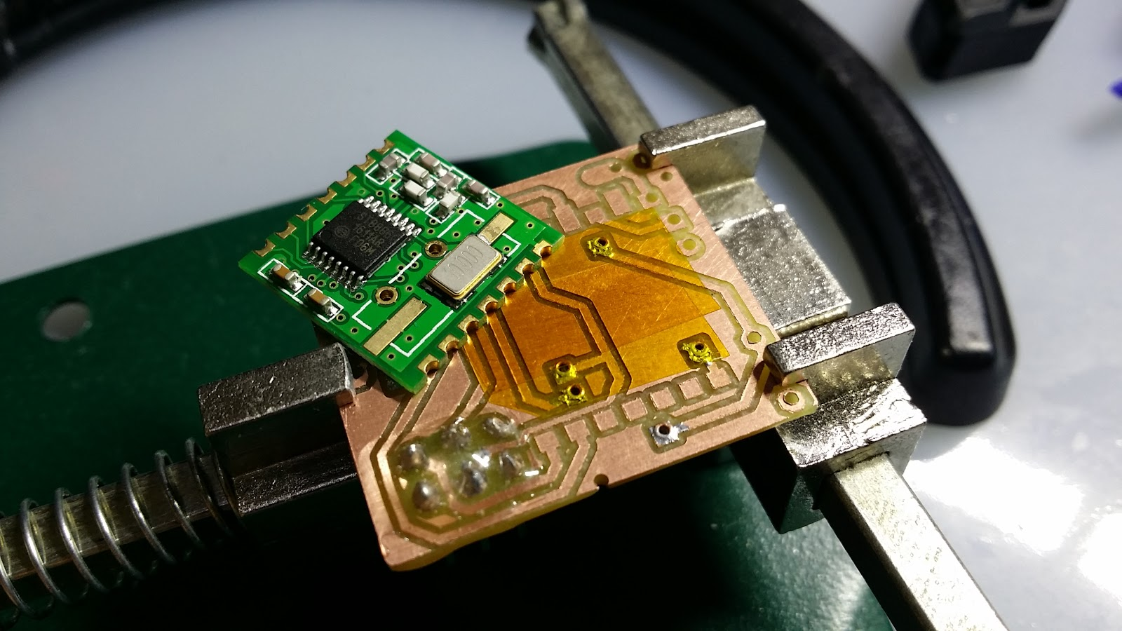 Oz For Us Using Pcb Rivets Vias Homemade Double Sided How To Solder A Circuit Board Proved Another Advantage There Are No Protruding Soldering Points Like When Wire Is Used Instead The I Still Piece Of Kapton