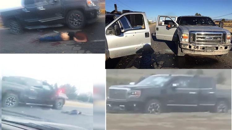 """VIDEO: """"UN MUERTO, LO VISTE?, QUE CHIDOTE"""" GRABAN EL MOMENTO DESPUÉS DE LA BALACERA DONDE MURIÓ """"EL CABO"""", 14 CAMIONETAS ESTABAN ABANDONADAS"""