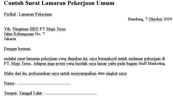 contoh surat lamaran pekerjaan umum