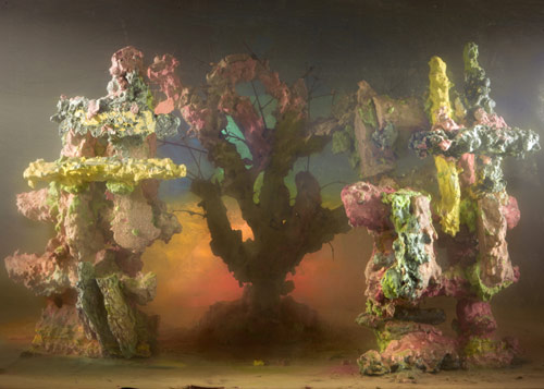 Kim Keever builds colourful landscapes inside a giant fish tank