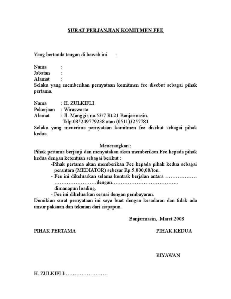 Contoh Surat Perjanjian Kerjasama Bagi Hasil Tips Menulis