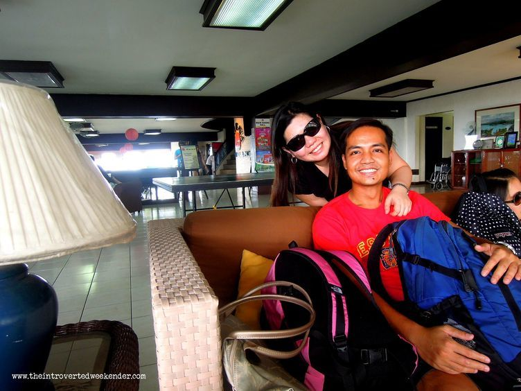 At the waiting area of Caliraya Resort Club
