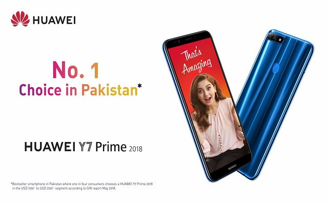 HUAWEI Y7 Prime 2018 Becomes Pakistan's Best selling Smartphone Ever