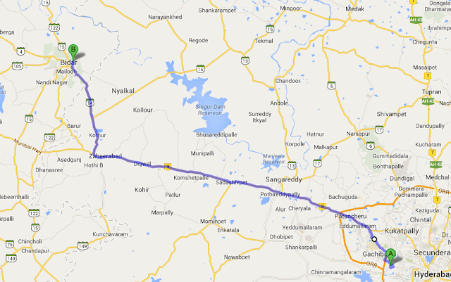 Hyderabad To Bidar Road Plan
