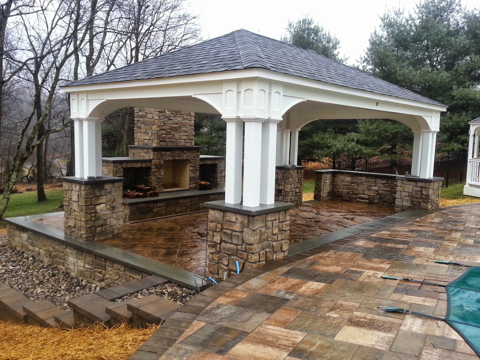 Outdoor Pavilion Fireplace