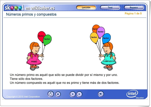 """""""Números primos y compuestos"""" (Aplicación interactiva de Matemáticas)"""
