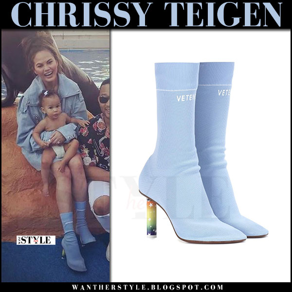 Chrissy Teigen in light blue sock boots vetements what she wore miami may 12 2017