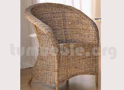 sillón para comedor hecho en caña de bambú y rattan natural j898
