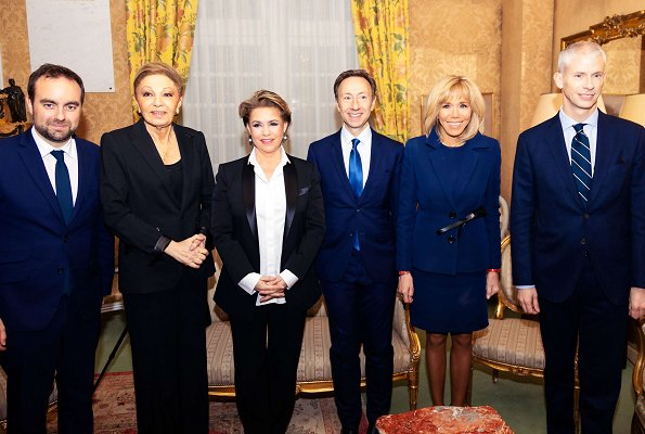 Grand Duchess Maria Teresa and First Lady Brigitte Macron attended award ceremony at Institut de France