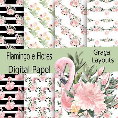 Kit Digital Flamingo E Flores Fazendo A Festa Do Bebe