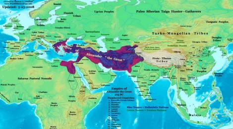 Imperio de Alejandro Magno tras su muerte, en el 323 a.C.