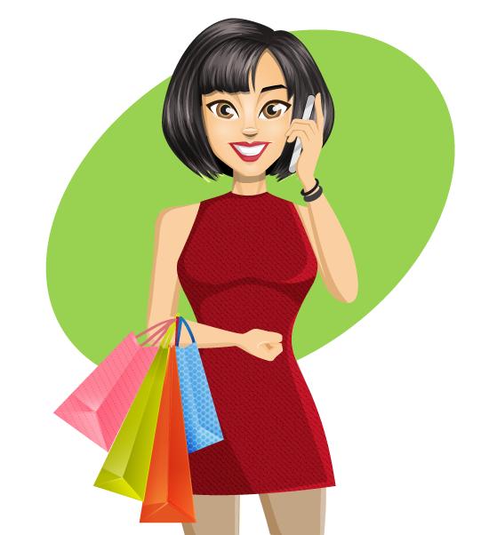 Chica de compras hablando por el móvil - vector