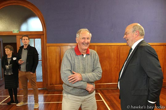 L-R: Harvey Boyden, Hastings, former deputy mayor, Hastings District Council, talking to Guy Wellwood, mayoral candidate. Hastings District Council, who held a public meeting in St Andrew's Hall, Hastings. photograph