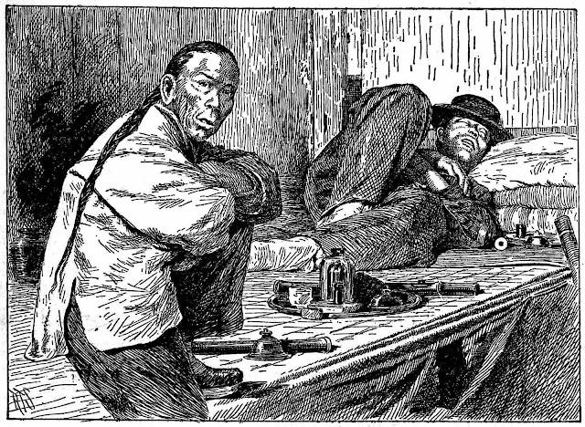 Illustration of a 1898 opium den interior
