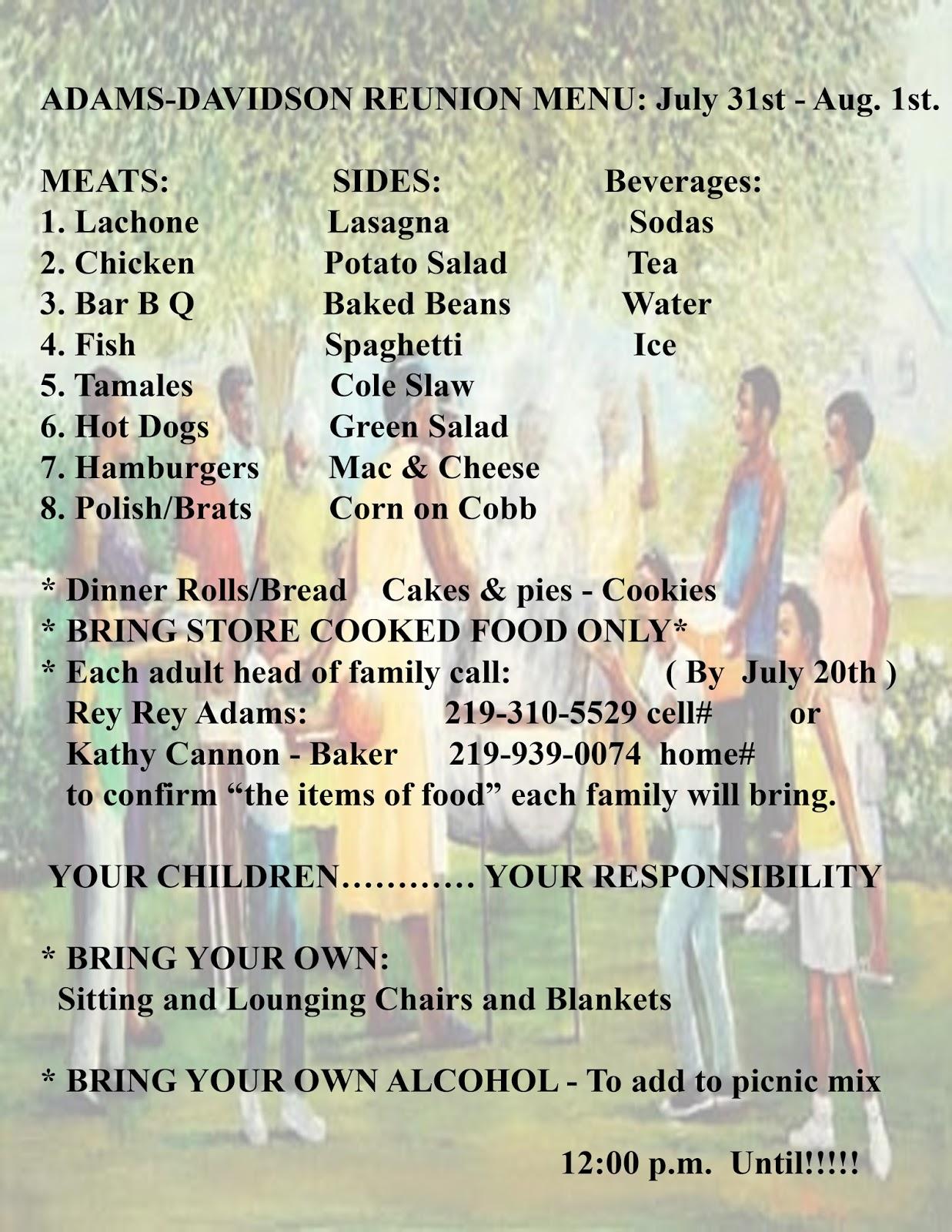 family reunion meet and greet menu