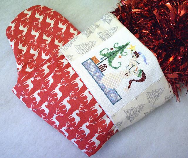 Cross Stitch Christmas Stocking Finish, Handmade Christmas Stocking, SamSarah Designs, Just Cross Stitch Ornament