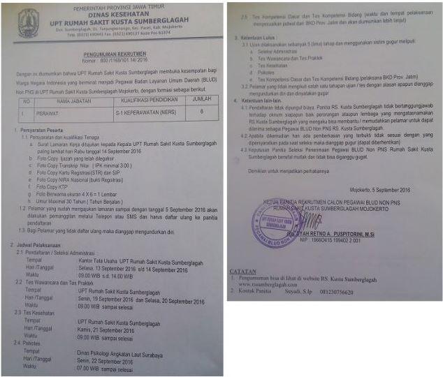 Lowongan Kerja Pegawa BLUD Non PNS Rumah Sakit Kusta Sumberglagah September 2016
