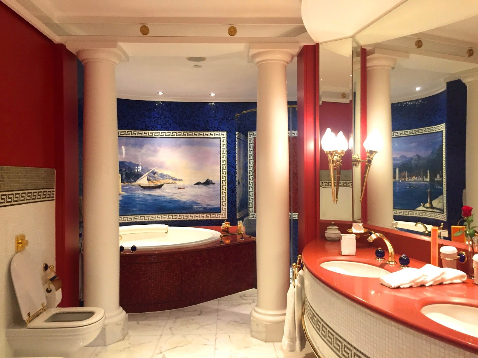 Burj Al Arab Review - The Bathroom - Vegan Dubai Travel - Versace Tiles