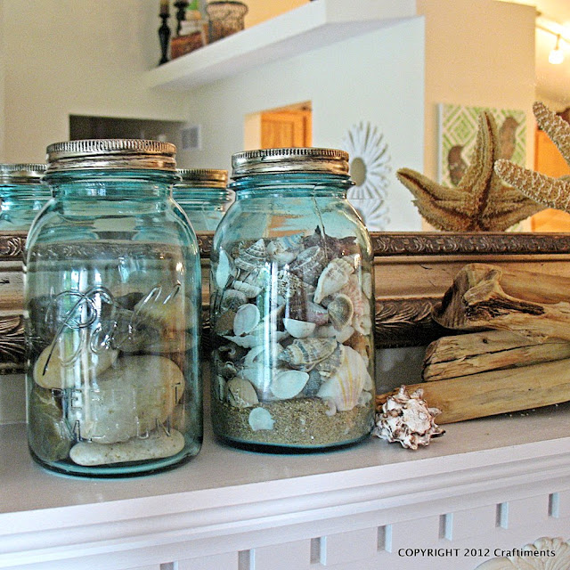 Craftiments.com:  Vintage Canning Jars Filled with River Rock and Seashells
