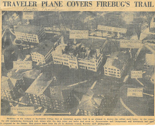 "Photograph of Dartmouth campus with sites of fires marked, headline reads ""Traveler Plane Covers Firebug's Trail."""