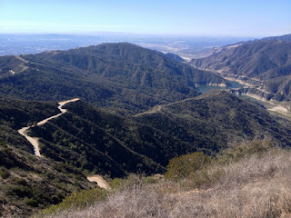 View southwest toward Morris Reservoir from Glendora Mountain, Angeles National Forest