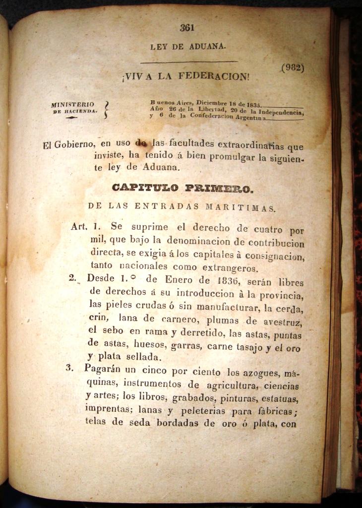 LEY DE ADUANAS JUAN MANUEL DE ROSAS 1835 PRIMERA