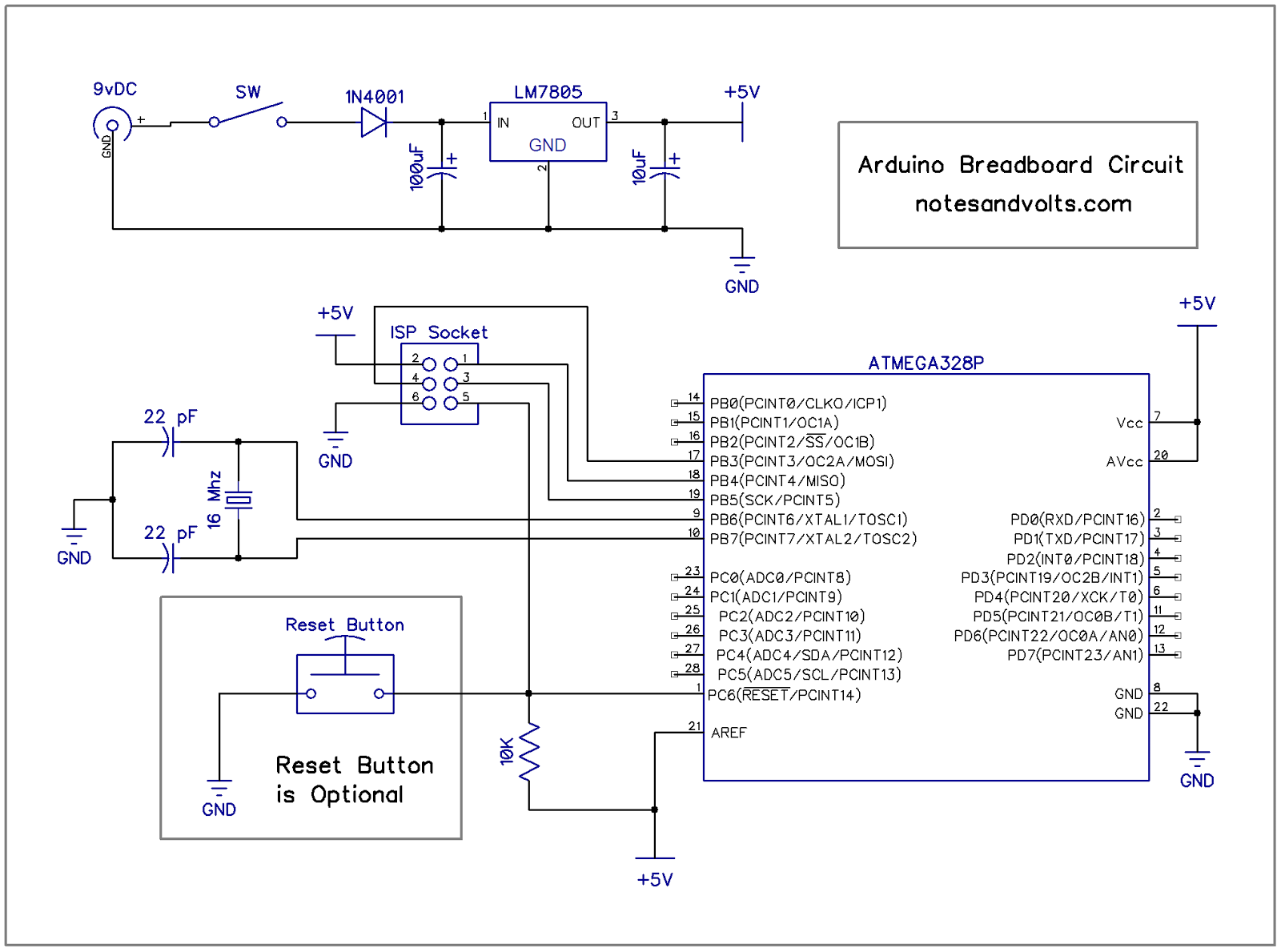 Notes And Volts Fun With Arduino On A Breadboard Isp In System Programming Standalone Circuits Open Lets Look At What This Circuit Is Doing The 9 Volt Power From Your Adapter Being Fed To 1n4001 Diode Will Only Allow Current Pass