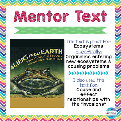 Nonfiction mentor text on ecosystems perfect for teaching cause and effect.