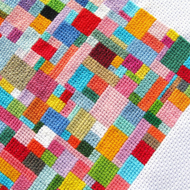 Geometric Cross Stitch Textile Art