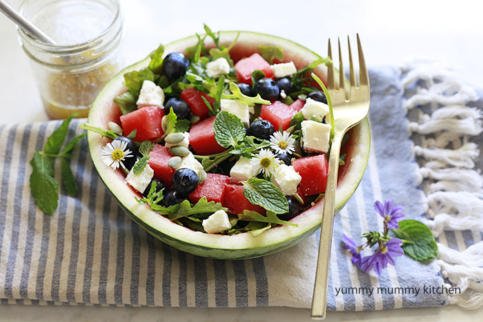 Watermelon Salad With Feta Or Cotija Recipe — Dishmaps