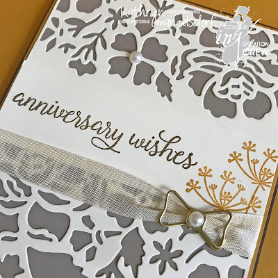 Stampin' Up! Falling for You, Detailed Floral Thinlits, Wedding Anniversary Card designed by Kathryn Mangelsdorf
