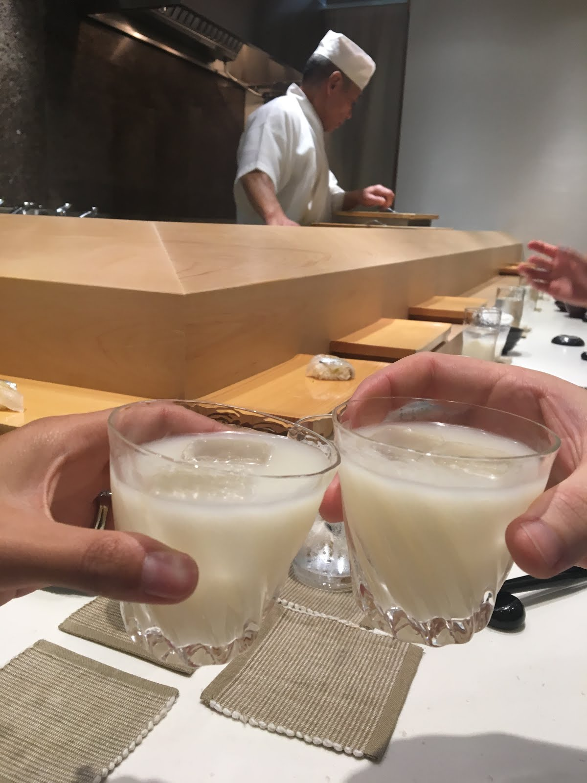 Cheers, unfiltered sake, recommended from Yasuda himself