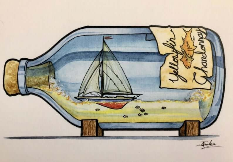 12-Yellow-Fin-Chardonnay-Wine-Jon-Guerdrum-Ship-in-a-Bottle-Drawings-and-Paintings-www-designstack-co