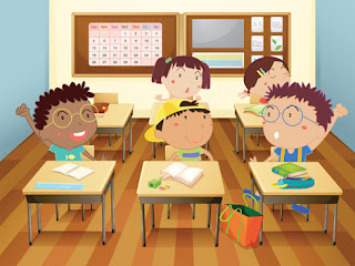 Clipart image of children at their desks in a classroom