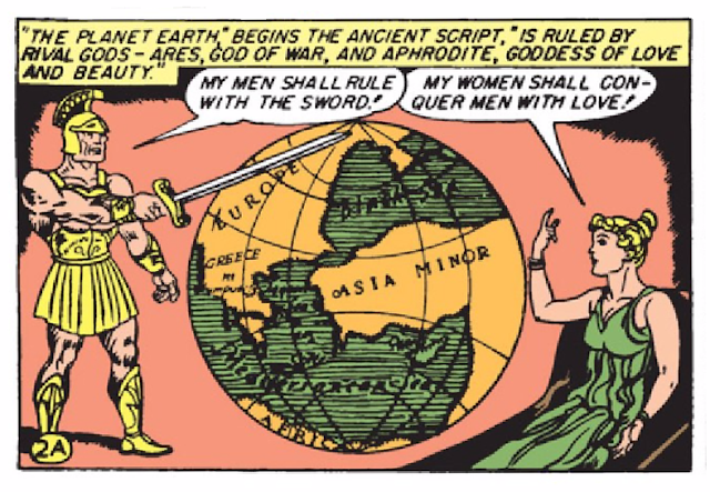 "Wonder Woman (1942) #1 Page 4 Panel 7: Ares and Aphrodite stake their claims as to who will ""rule"" the Earth: men or women."